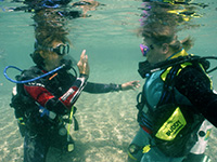 diving instructor in cyprus teaches scuba diving skills to a student in shallow water