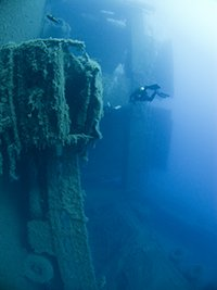 Lorry Hanging from the deck of Zenobia wreck in Larnaca Cyprus