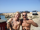 diving instructor with a student learning to dive in cyprus. A great diving relationship