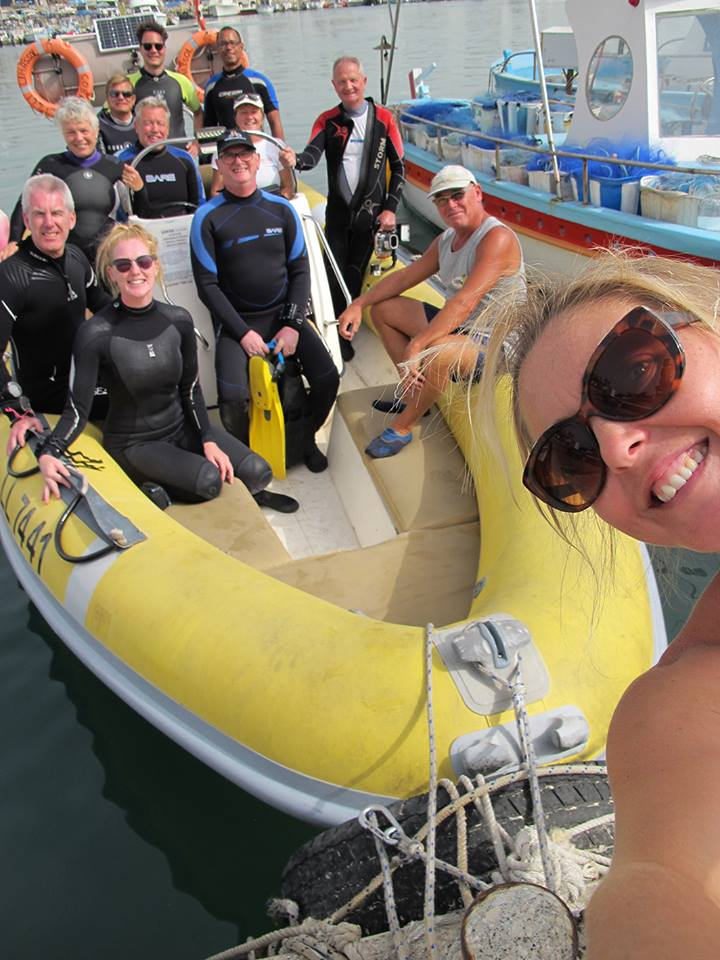 Scuba Diving in fun from the cobra dive boat in Protaras, cyprus