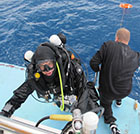 Rebreather Diver celebrates qualifying CCR dive on Megalodon in Cyprus on Zenobia wreck