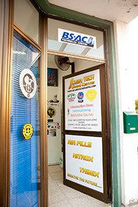 welcome through the door of scubatech diving centre in cyprus