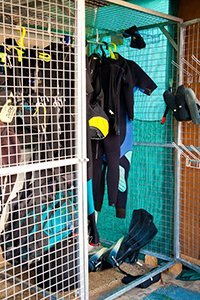 drying cage at the back of the dive centre for after washing diving equipment