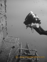 Zenobia wreck diving is perfect for black and white pictures with the megalodon CCR